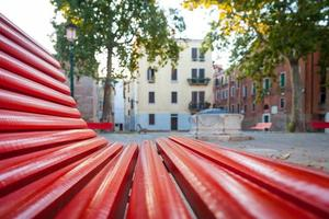 Venice from a red bench photo