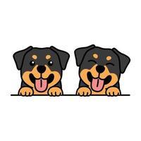 Cute rottweiler puppy cartoon, vector illustration