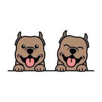 Cute pitbull puppy cartoon, vector illustration