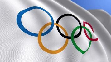 WAVING OLYMPICS FLAG ANIMATION LOOP BACKGROUND video