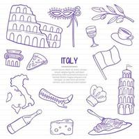 italy nation or country doodle hand drawn with outline style vector