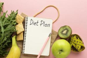 Top view arrangement with meal planner photo