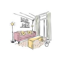 Drawn interiors bedroom living room offices modern building workplace studio sketch vector
