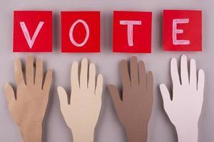 Top view paper style voting arrangement photo