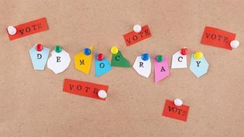 vista superior estilo papel composición de la democracia foto