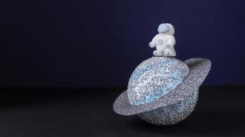 Still life space composition with white astronaut photo
