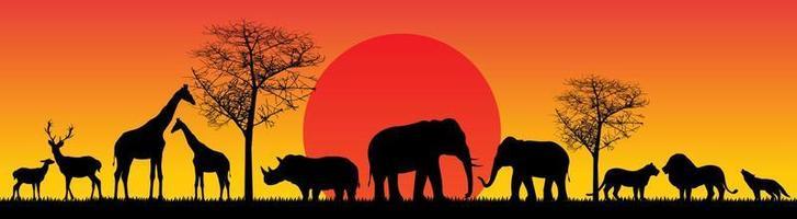 wild animals safari sunset vector