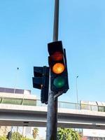 Traffic light on the road photo