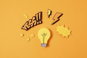 Idea concept with light bulb photo