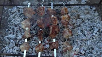 comida tradicional georgiana mtsvadi - cerdo al horno video