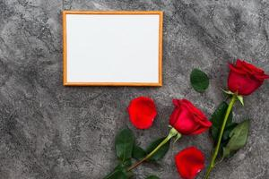 On a gray background lined wooden frame and red roses. Place for text photo