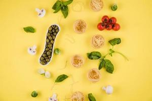 The yellow background shows the ingredients Italian photo