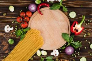 Set of spaghetti cooking products, top view, free space photo