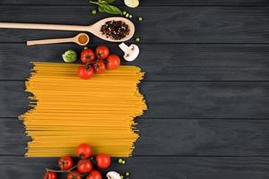 Set of products for Italian pasta. Copy space on the right. photo