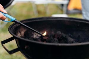 Closeup image of burning charcoal in a barbecue photo