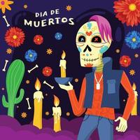 Day of the Dead Celebration with Skull Character vector