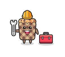 Mascot cartoon of muffin as a mechanic vector