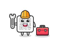 Mascot cartoon of qr code as a mechanic vector