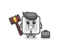 Illustration of qr code mascot as a lawyer vector