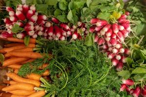 A collection of fresh vegetables with radish and carrot. Top view . - Image photo