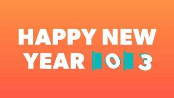 gelukkig nieuwjaar 2023 gouden achtergrond met gekleurde lijnen en gelukkig nieuwjaar in de centrumvreugdestijl - gratis voor commercieel gebruik video