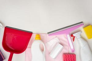 household accessories neatly laid out on the table. Top view. Copy space photo