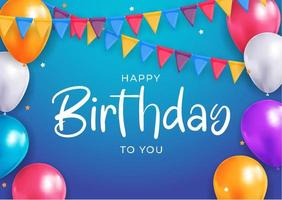 Happy Birthday congratulations banner design with Confetti, Balloons  for Party Holiday Background. Vector Illustration