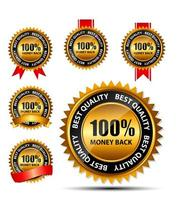 Vector 100 money back gold sign, label template