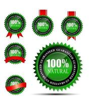 100 natural green label isolated on white.vector illustration vector