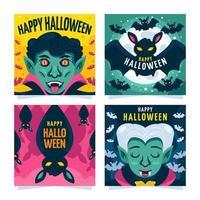 Vampire Themed Halloween Social Media Templates vector