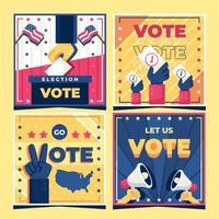 conjunto de tarjeta de promoción de elecciones generales vector