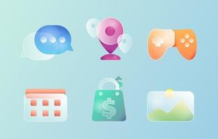 Set of Glass Morphism Icon Button vector