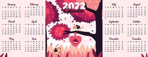 Calendar 2022 Template with Bird and Nature Theme vector