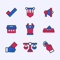 colecciones de iconos de elecciones estadounidenses vector