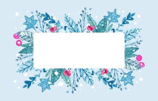 Winter Floral with Frame Background vector