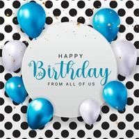 Happy Birthday congratulations banner design with Confetti, Balloons and Glossy Glitter Ribbon for Party Holiday Background. Vector Illustration EPS10