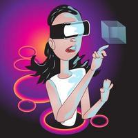 Girl Using Virtual Reality vector