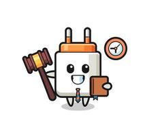 Mascot cartoon of power adapter as a judge vector
