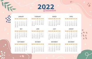 Cute Abstract Theme Calendar 2022 Template vector