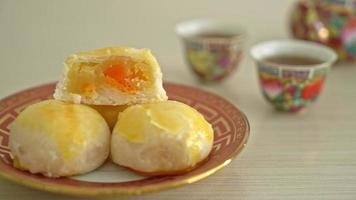 Chinese pastry moon cake  with salted egg peanut video