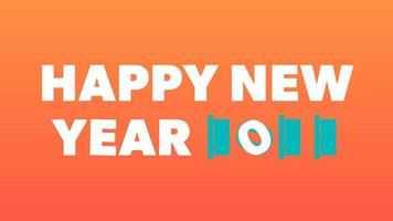 gelukkig nieuwjaar 2022 gouden achtergrond met gekleurde lijnen en gelukkig nieuwjaar in de centrumvreugdestijl - gratis voor commercieel gebruik video