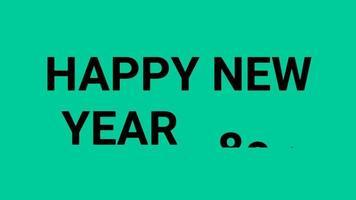 gelukkig nieuwjaar 2023 groen schermachtergrond met gekleurde lijnen en gelukkig nieuwjaar in de middelste nummerstijl - gratis voor commercieel gebruik video