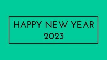 gelukkig nieuwjaar 2023 groen schermachtergrond met gekleurde lijnen en gelukkig nieuwjaar in het midden ingelijste stijl - gratis voor commercieel gebruik video