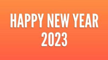 gelukkig nieuwjaar 2023 gouden achtergrond met gekleurde lijnen en gelukkig nieuwjaar in het centrum gewaagde stijl - gratis voor commercieel gebruik video