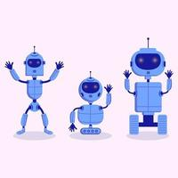 Three modern cute grey robot in scandinavian childish style isolated on white background for children toys. vector