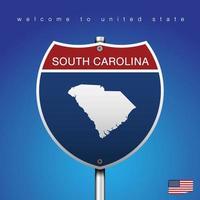 Signo de carretera de estilo americano Carolina del Sur y mapa vector