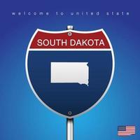 Signo de carretera de estilo americano Dakota del Sur y mapa vector
