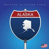 Sign Road America Style Alaska and map vector