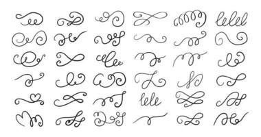 Set of different hand drawn flourish swirl ornate decoration elements. Decorative black ink pen curled lines collection vector