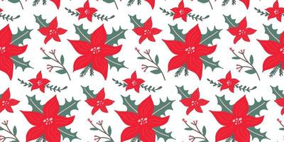 Poinsettia - Christmas star flower foral festive seamless pattern. Hand drawn winter background. vector